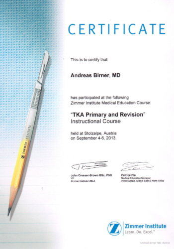 Certificate TKA Primary and Revision