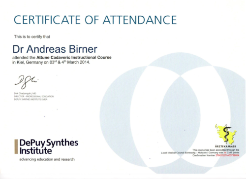 Certificate of Attendance 2014