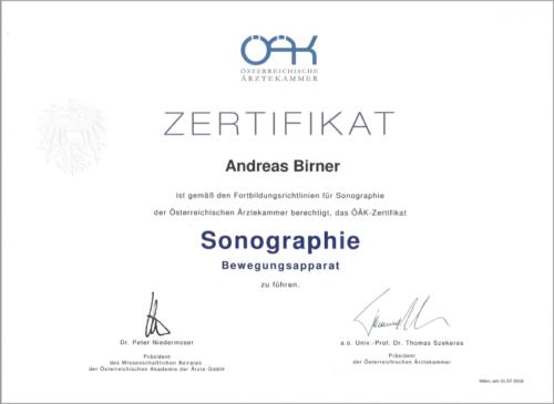 Zertifikat Sonographie